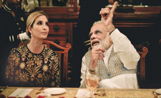 Prime Minister Narendra Modi with Ivanka Trump, daughter and adviser to the US President...