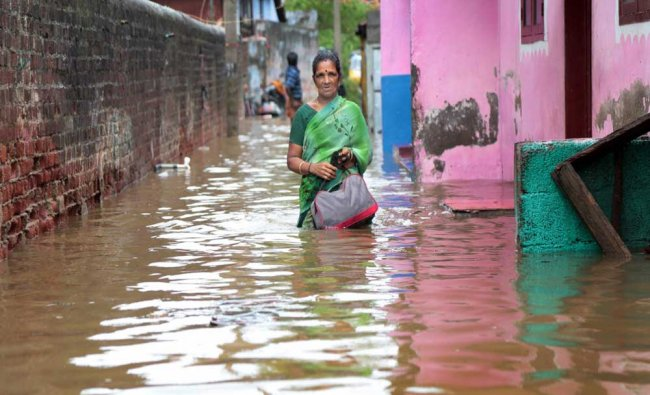 A flooded locality following a heavy storm at Nagercoil in Kanyakumari district...
