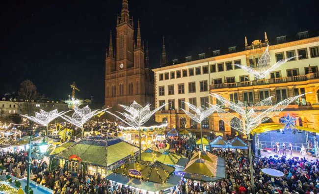 A general view of the Christmas market at the Schlossplatz square in Wiesbaden, Germany...