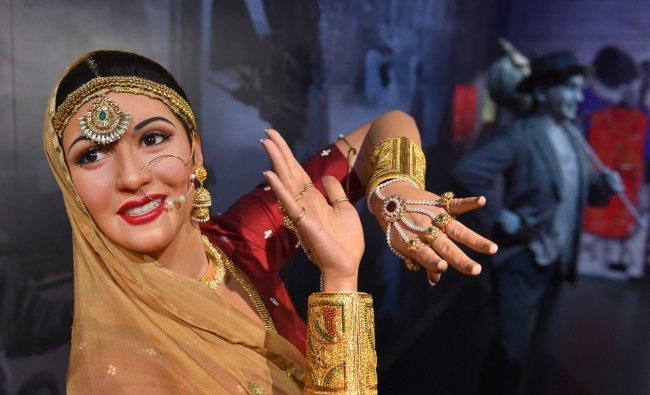 Wax figures of Bollywood stars Madhubala, Raj Kapur displayed at Madame Tussauds Wax Museum...