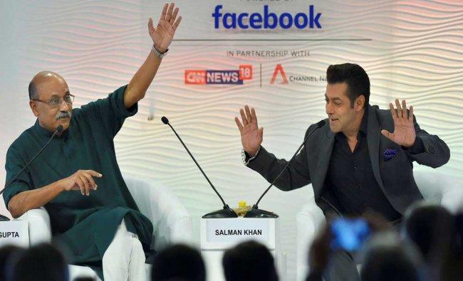 Actor Salman Khan and eminent journalist Shekhar Gupta at the Hindustan Times Leadership...