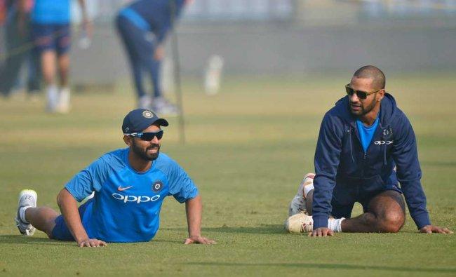 India Cricket team members Shikhar Dhawan and A Rahane...