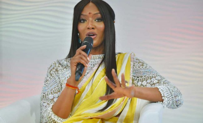 Supermodel Naomi Campbell, speaks at the Hindustan...