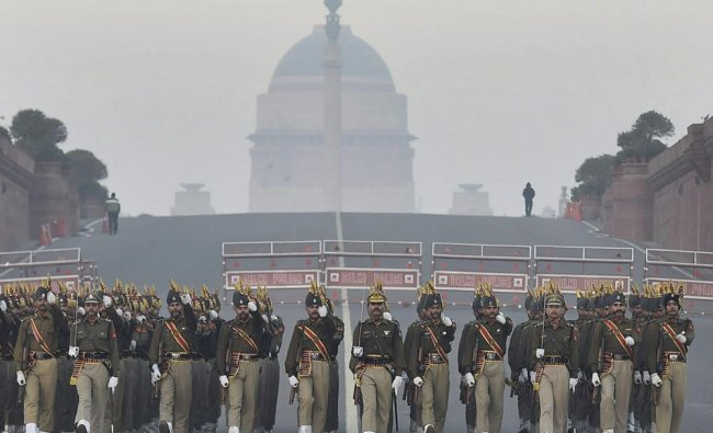 BSF\'s marching contingent during a rehearsal for the Republic Day parade, in New Delhi....