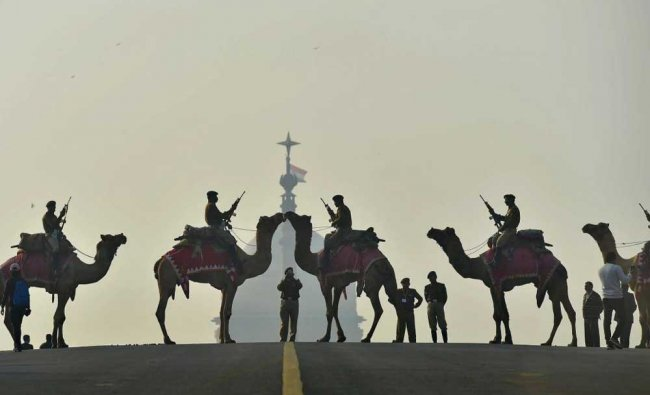 Camel-mounted BSF soldiers participate in a rehearsal for the Beating Retreat ceremony...