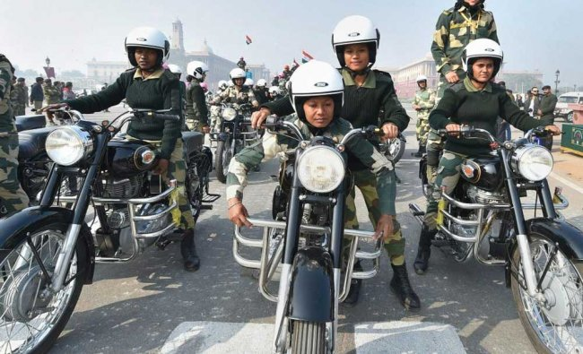 The newly-raised all women bikers contingent of BSF Daredevils...