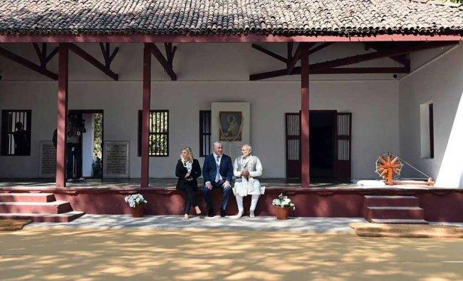 Narendra Modi, Benjamin Netanyahu and his wife Sara during their visit to Sabarmati Ashram...