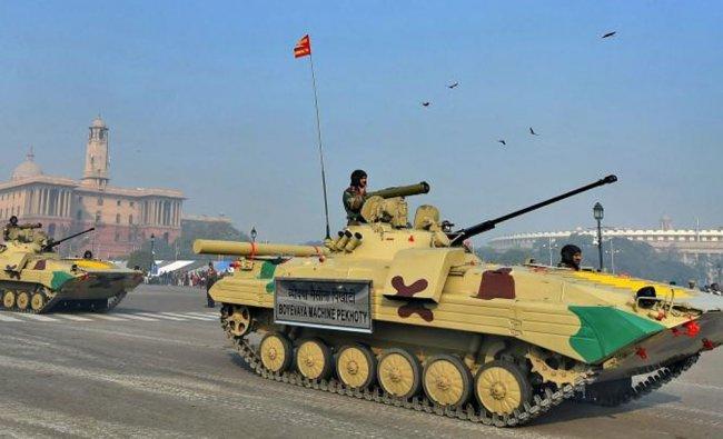 \'Boyevaya Machine Pekhoty\' tanks seen at Vijay Chowk during the Republic Day parade rehearsal...