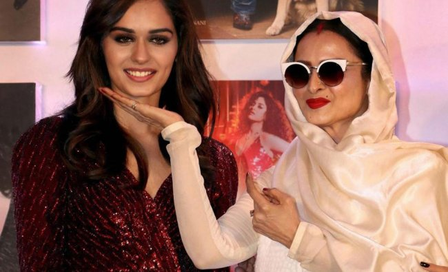 Miss World 2017 Manushi Chhillar and actor Rekha pose for a picture...
