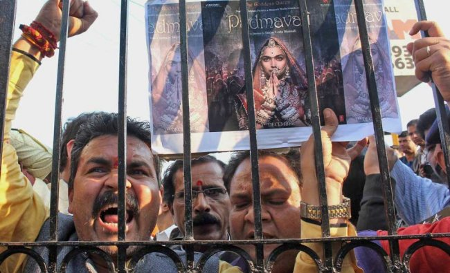 Karni Sena activists demonstrate against the release of Padmaavat, in Bhopal...