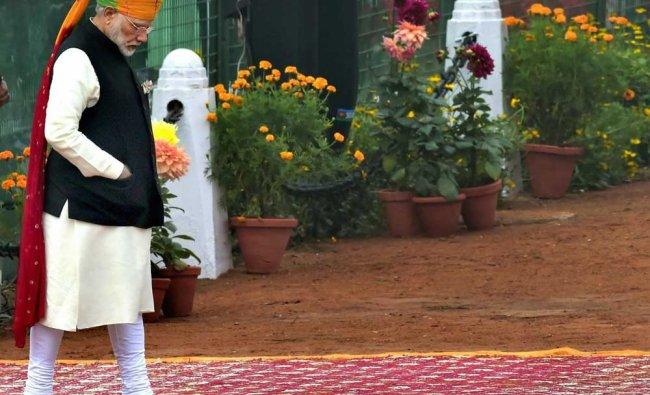 Prime Minister Narendra Modi during the 69th Republic Day Parade at Rajpath in New Delhi ...