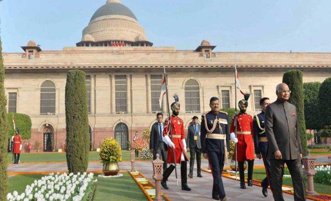 President Ram Nath Kovind during the Republic Day \'At Home\' at Rashtrapati Bhavan on Friday...
