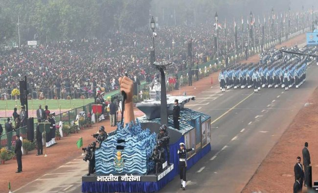 The tableau of Indian Navy on display during the 69th Republic Day Parade at Rajpath in New Delhi ..