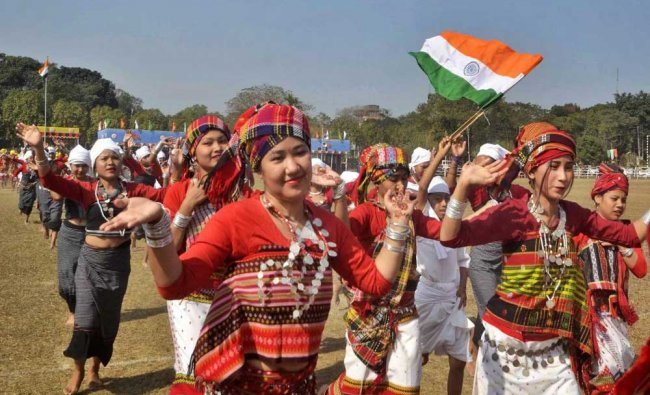 School children perform during the 69th Republic Day celebrations, in Agartala on Friday...