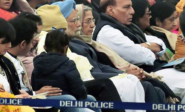 Former prime minister Manmohan Singh, Home Minister Rajnath and others during 69th Republic Day ...
