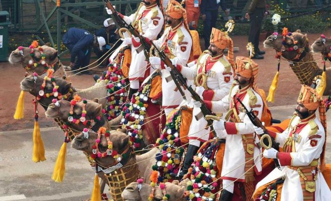 BSF\'s camel contingent marches past during 69th Republic Day Parade at Rajpath in New Delhi on ...