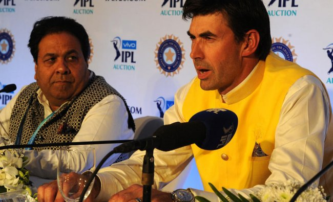 CSK\'s Stephen Flemming addressing a press conference at the 11th edition of IPL auction in Bengaluru