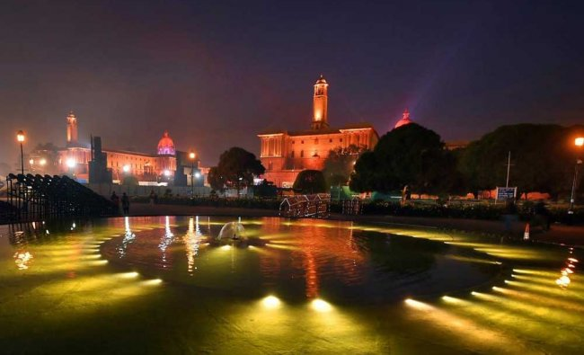 An illuminated Raisina Hills after the full dress rehearsal for the Beating Retreat ceremony in ...