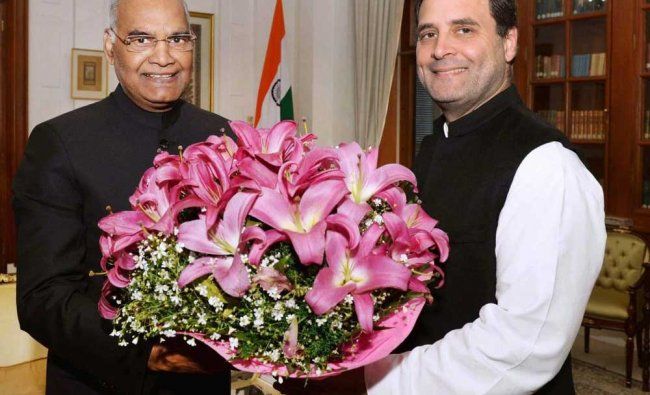 Congress president Rahul Gandhi calls on the President Ram Nath Kovind at Rashtrapati Bhavan in ...