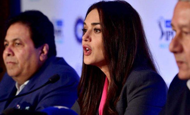 King\'s XI Punjab co-owner Priety Zinta and Ranjit Borthakur, Chairman & CEO of Rajasthan Royals ...