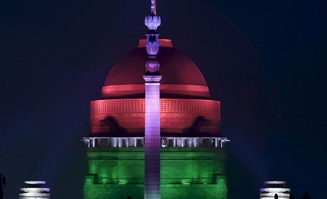 An illuminated Rashtrapati Bhavan after the rehearsal for the Beating Retreat ceremony in New Delhi