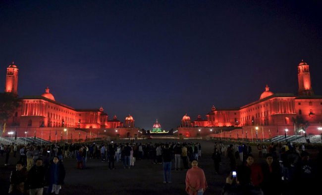 An illuminated Raisina Hill after the rehearsal for the Beating Retreat ceremony in New Delhi on ...