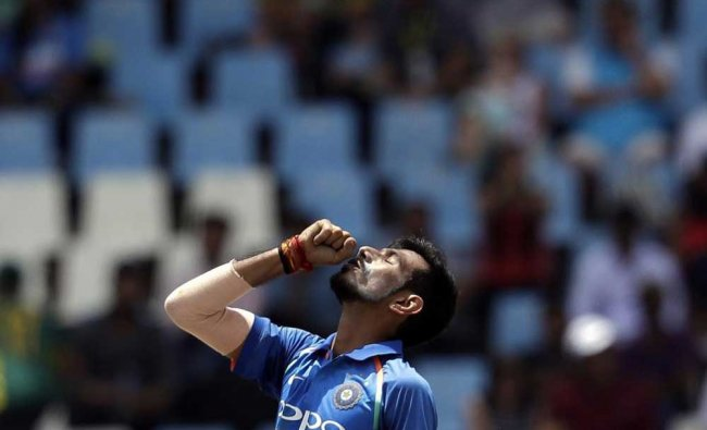 Yuzvendra Chahal looks up after dismissing Chris Morris...