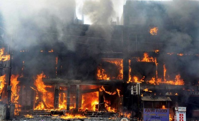 Fire engulfs a premier garment showroom located at Palamandap near Badambadi in Cuttack...