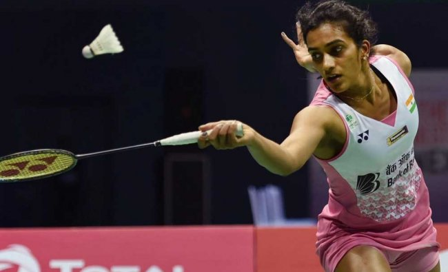 P V Sindhu in action against Zhang Beiwen in the India Open women singles final match...