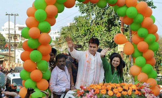 BJP Tripura state president Biplab Kumar Deb with party supporters celebrate party\'s victory in ...