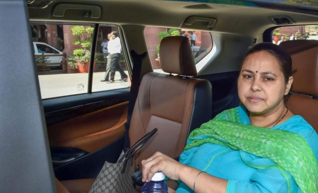 RJD MP Misa Bharti at Parliament on the first day of the second phase of the budget session, in ...