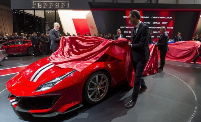 The new Ferrari 488 Pista is unveiled during the press day at the 88th Geneva International Motor...