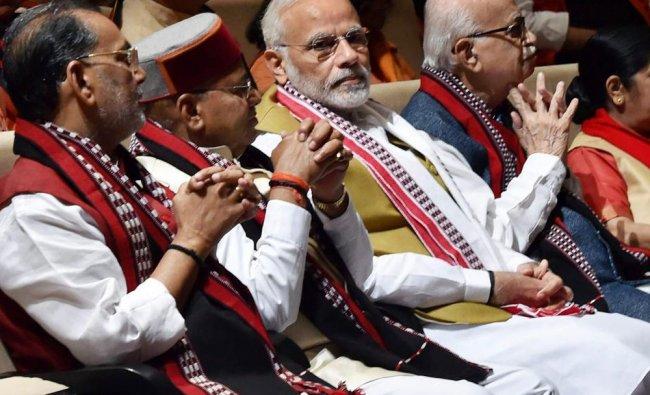 Prime Minister Narendra Modi, senior BJP leader L K Advani and Union ministers Sushma Swaraj,...