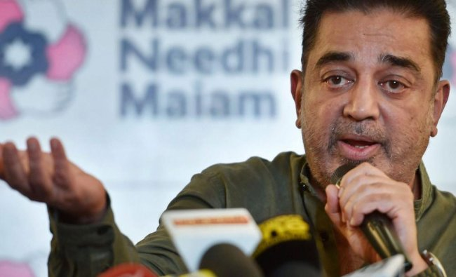 Actor-politician Kamal Haasan addresses a press conference on the row over razing of Lenins...