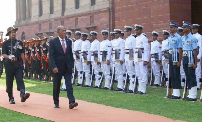 Philippines Defense Secretary Delfin N. Lorenzana inspects the Tri-Services Guard of Honour...