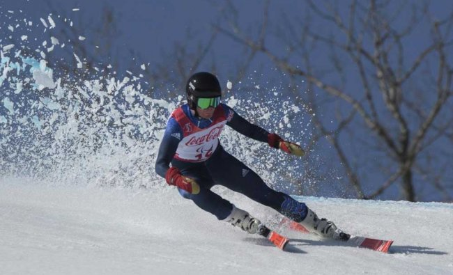 Britain\'s James Whitley competes in the Alpine Skiing Standing Men\'s Super Combined...