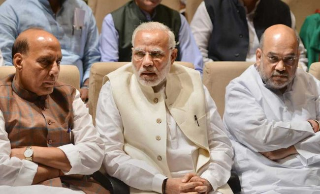 Prime Minister Narendra Modi, BJP President Amit Shah and Rajnath Singh attend the BJP...