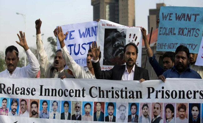 Activists of the Pakistani Christian group Rah-e-Nijat Ministry stage a protest against...