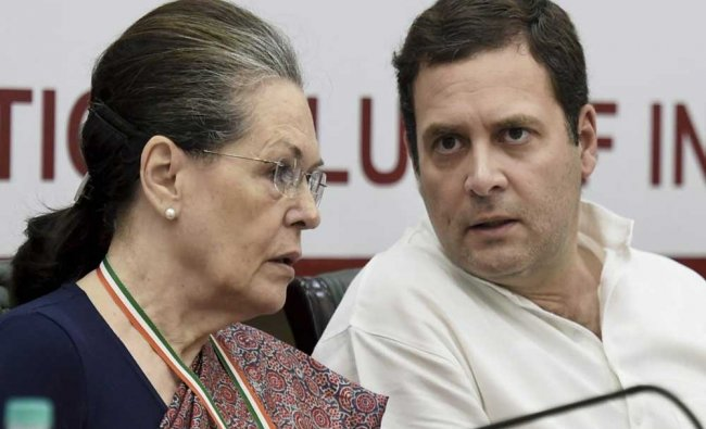 UPA Chairperson Sonia Gandhi and Congress President Rahul Gandhi during the Congress Steering ...