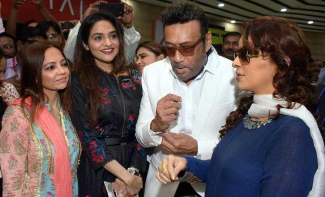 Bollywood actors (L-R) Madhu, Jackie Shroff, and Juhi Chawla during the inauguration...