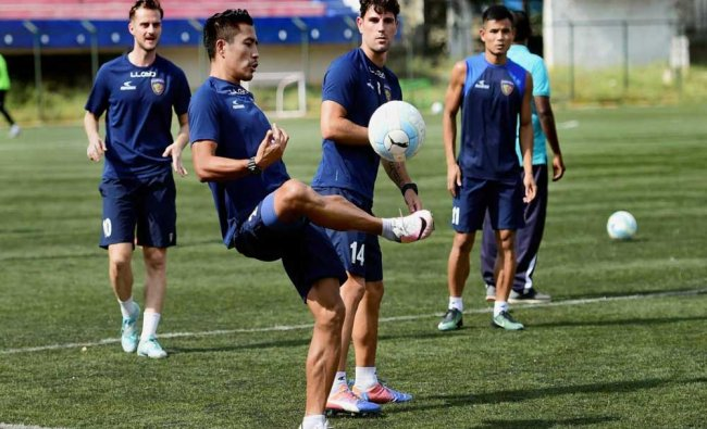 Chennaiyin FC players during a practice session ahead of the final match of ISL 2018...