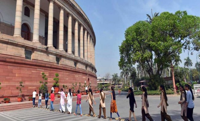 Students visits Parliament during the budget session, at Parliament House in New Delhi...