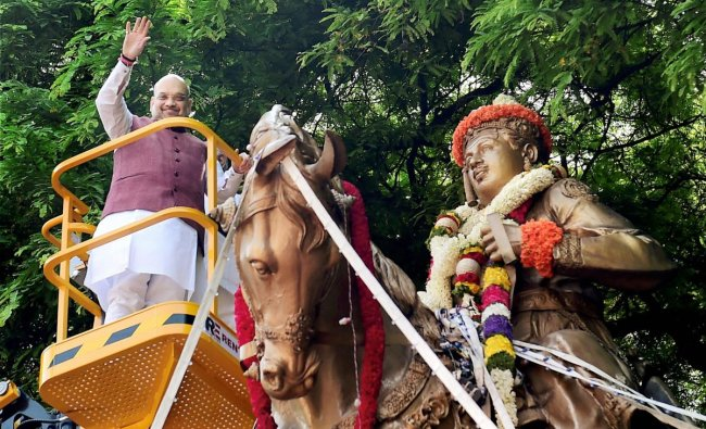 BJP National President Amit Shah offers tribute to Lord Basaveshwara on the occasion of Basava Jayanti in Bengaluru on Wednesday. Shah is in Karnataka on a two-day election campaign tour. PTI