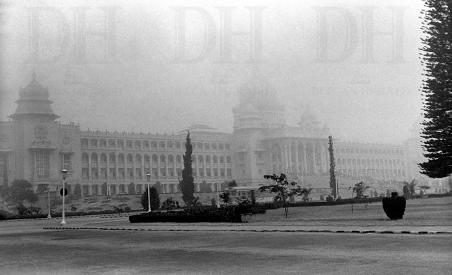The iconic Vidhana Soudha clicked on a foggy day in 1978. DH Photo