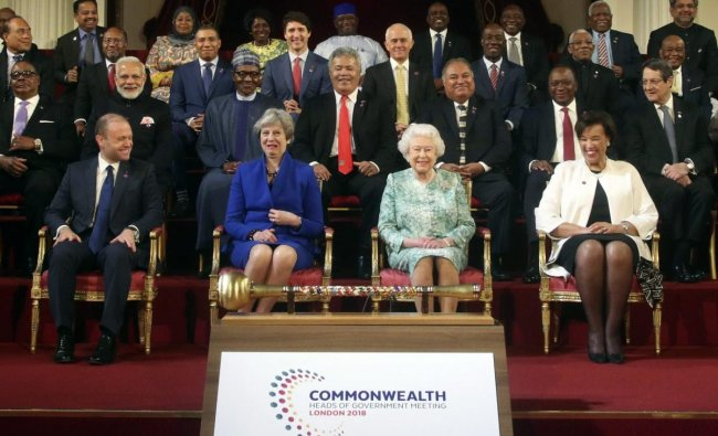 Commonwealth leaders pose for a group photograph with Britain\'s Queen Elizabeth II, front center right, during the formal opening of the Commonwealth Heads of Government Meeting in the ballroom at Buckingham Palace in London, Thursday April 19, 2018. AP/PTI