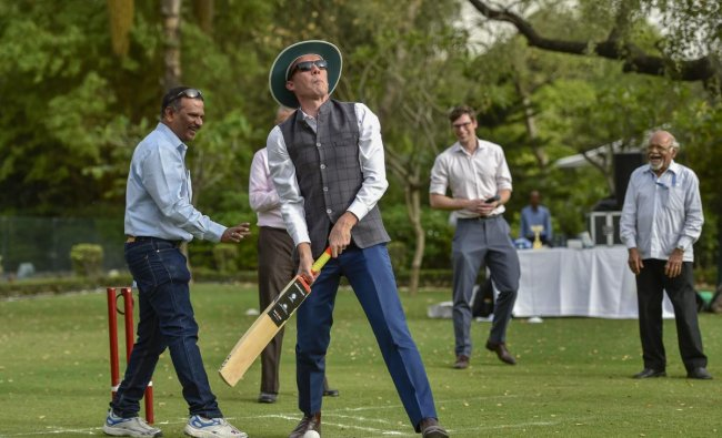 Australian Deputy High Commissioner to India Chris Elstoft plays a shot during a Blinds friendly Cricket match, in New Delhi, on Friday. PTI Photo
