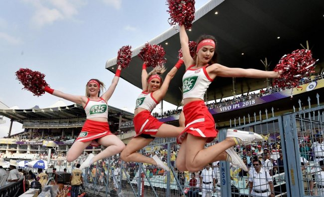 Kings XI Punjab cheerleaders perform during IPL 2018 match against KKR at Eden Garden in Kolkata on Saturday. PTI Photo