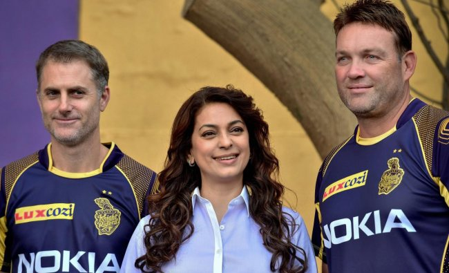 Kolkata Knight Riders (KKR) co-owner Juhi Chawla with Coach Jacques Kallis and Simon Katich during the unveiling of recycled waste installation at Eden Garden to observe World Earth day in Kolkata on Sunday. PTI Photo