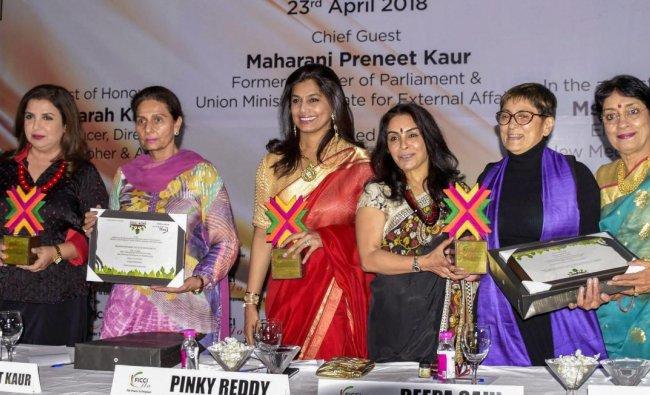 Bollywood choreographer Farah Khan, former Union minister Perneet Kaur, President of FICCI Ladies Organisation (FLO) Pinky Reddy and actress and producer Deepa Sahi at the launch of 15th FLO Amritsar Chapter in Amritsar on Monday. PTI Photo
