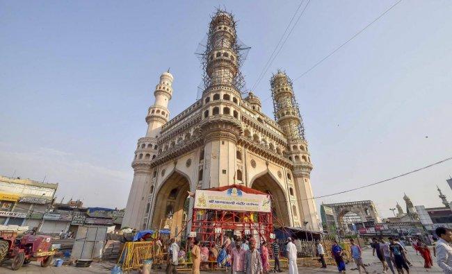 Renovation works underway near historic Charminar in Hyderabad. PTI Photo